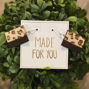 Leopard Handmade Wood Burned Earrings